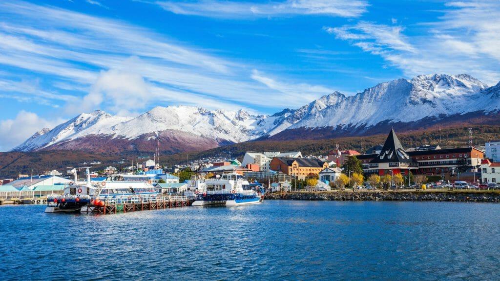 Catamaran boats in the Ushuaia harbor port, Tierra del Fuego province in Argentina