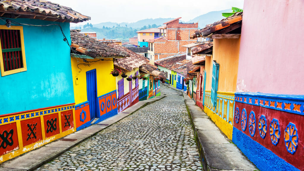 Colourful colonial houses of Guatape, Columbia