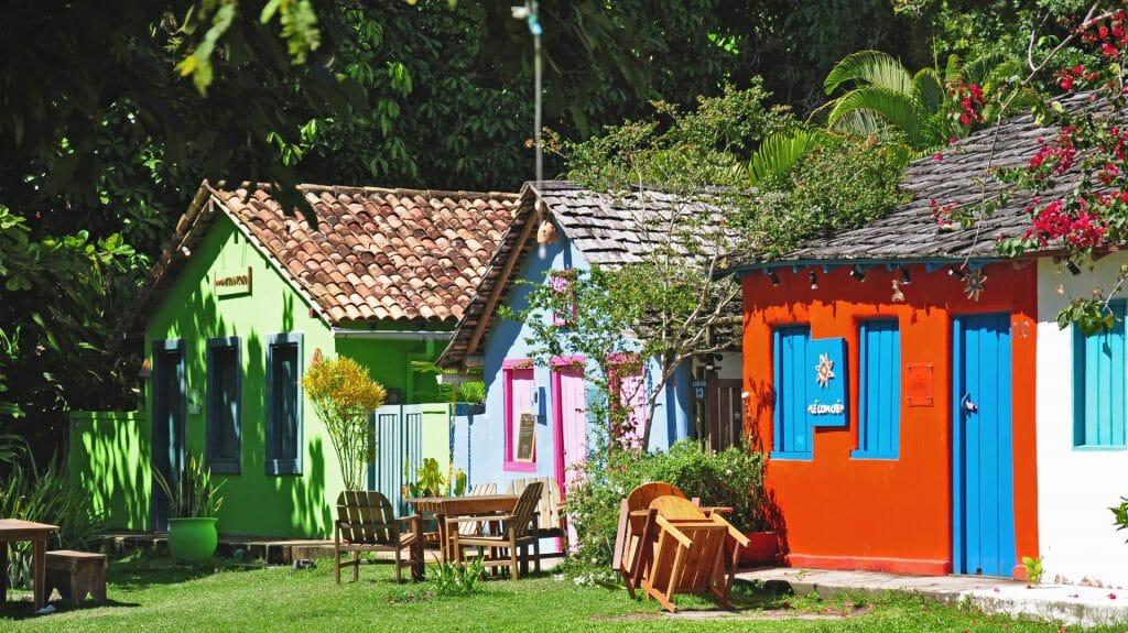 Colourful Houses, Trancoso, Bahia, Brazil