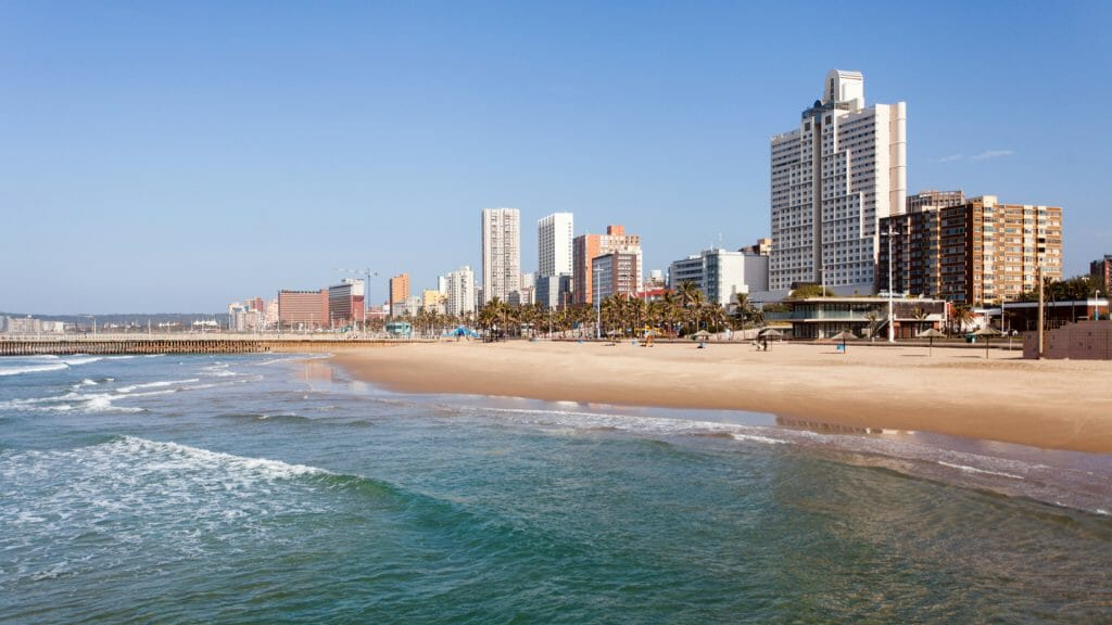 View of Durban from the beach, South Africa