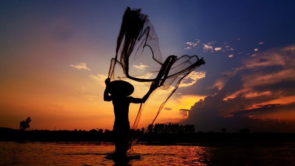 Fisherman, Mekong river, Laos