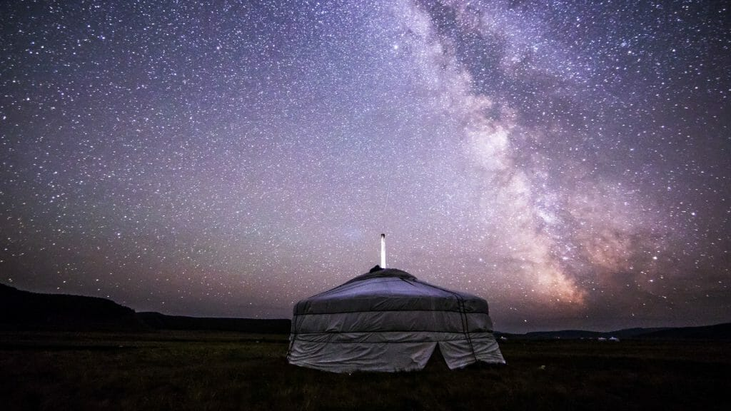 Ger tent at night with the Milky Way above
