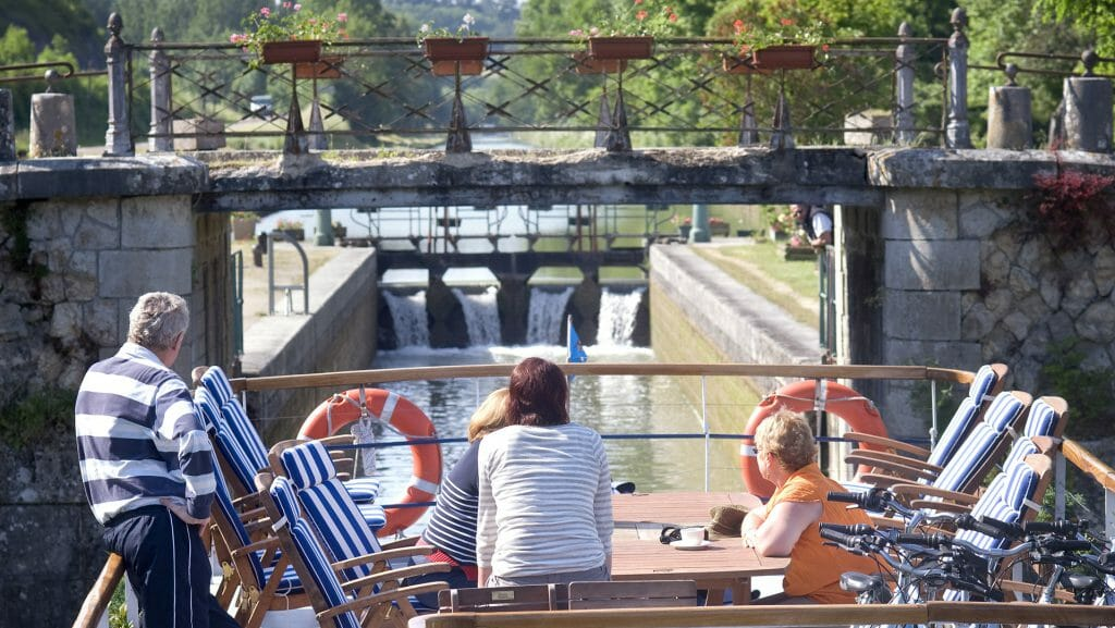 Hotel Barging, Approaching a Lock, France