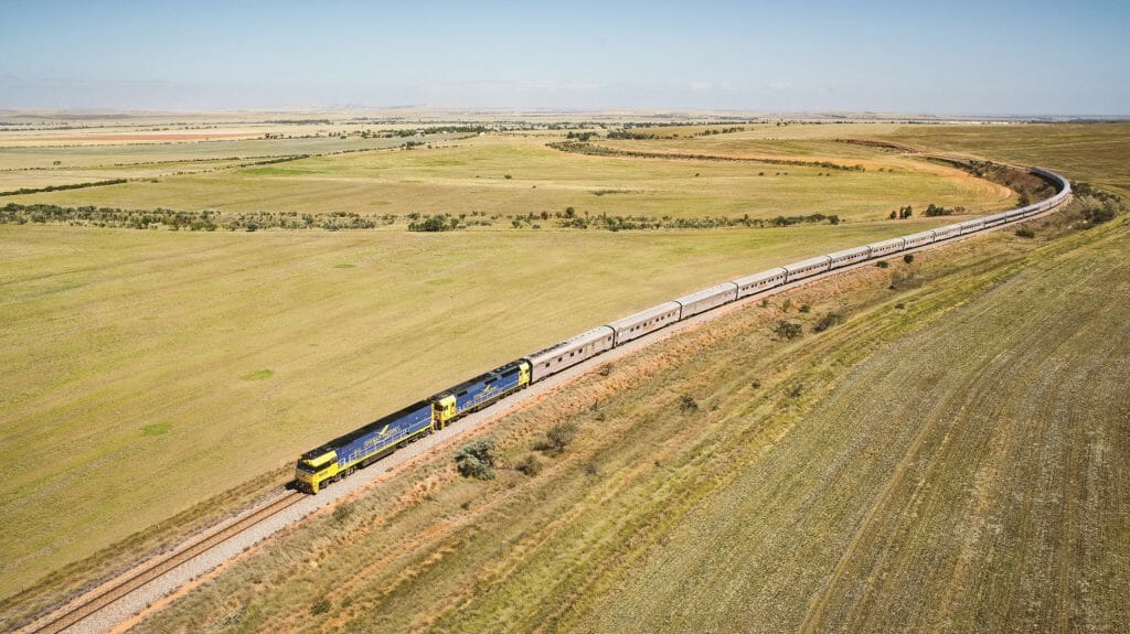 Indian Pacific Train heading Eastbound through Clare Valley, Australia