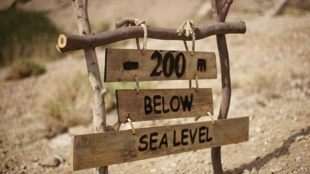 Jordan, Dead Sea, Below sea level sign