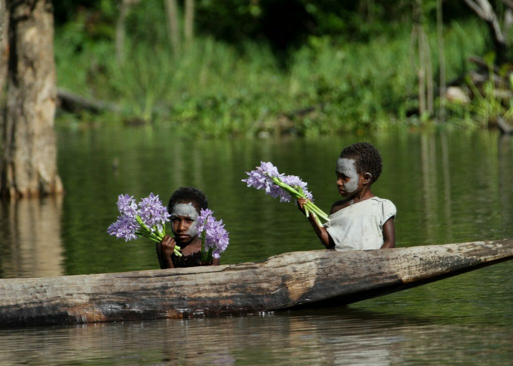 Kumbarumba village, Sepik River flower sellers, Papua New Guinea