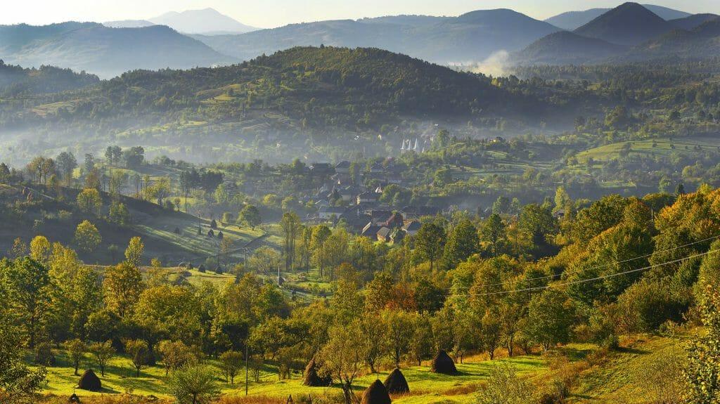 Maramures, typical countryside near the village Poienile Izei, Romania