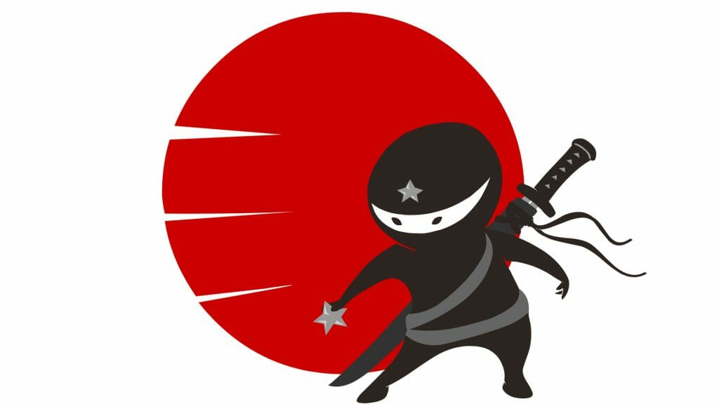 Black, white and red cartoon illustration of a ninja.