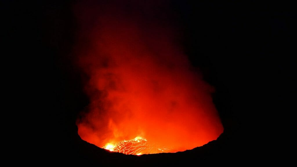 Nyiragongo at night, Virunga National Park, Democratic Republic of Congo
