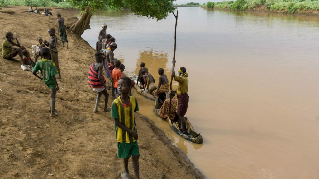 Local people by Omo River, Ethiopia
