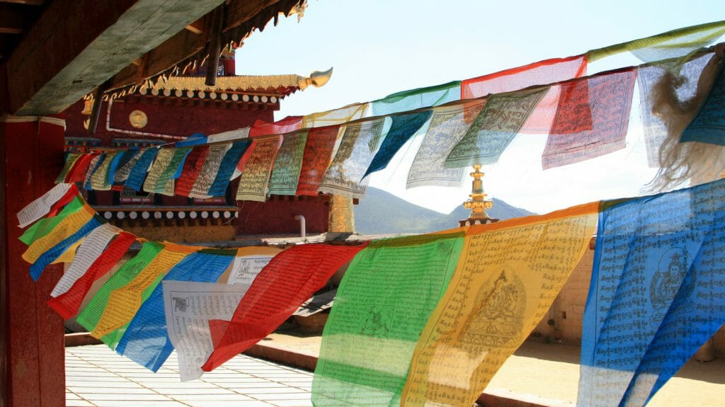 Prayer flags in Songzanlin Monastery, Shangri La, Yunnan, China