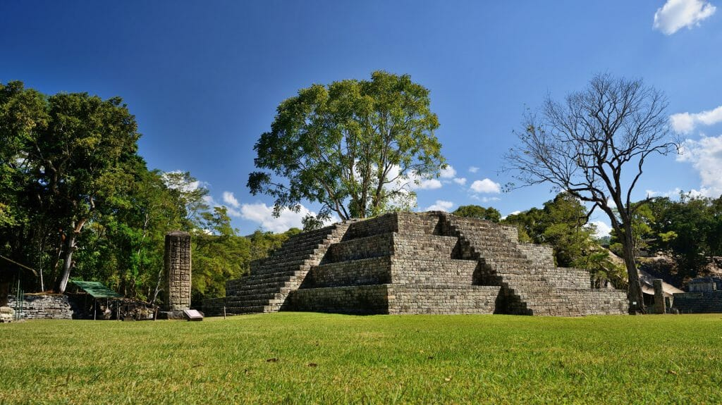 Pyramid and Stella, Copan, Honduras