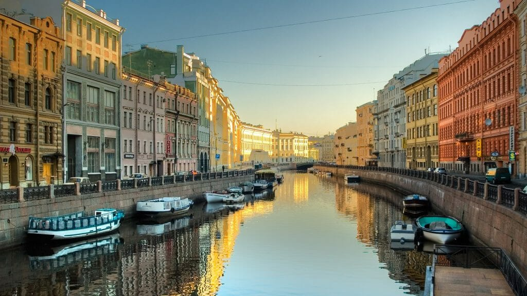 River with Boats, Saint Petersburg, Russia