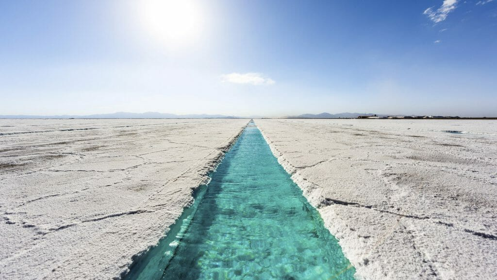 Salt water pool on the Salinas Grandes salt flats in Jujuy province, northern Argentina