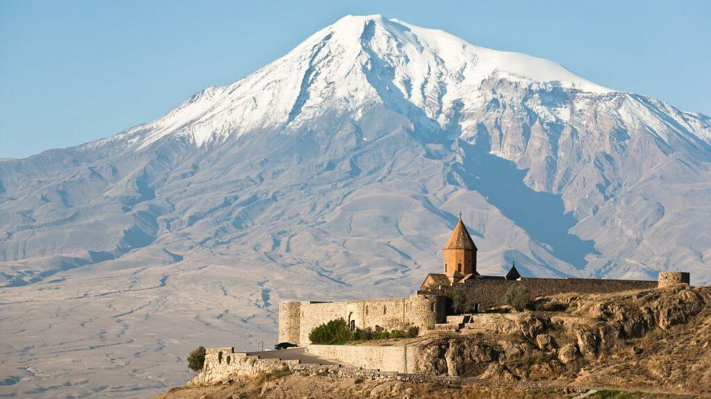 Snow Capped Mount Ararat and Khor Virap, Armenia