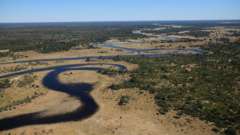 Spillway Aerial View, Selinda Canoe Travel, Selinda Reserve, Botswana