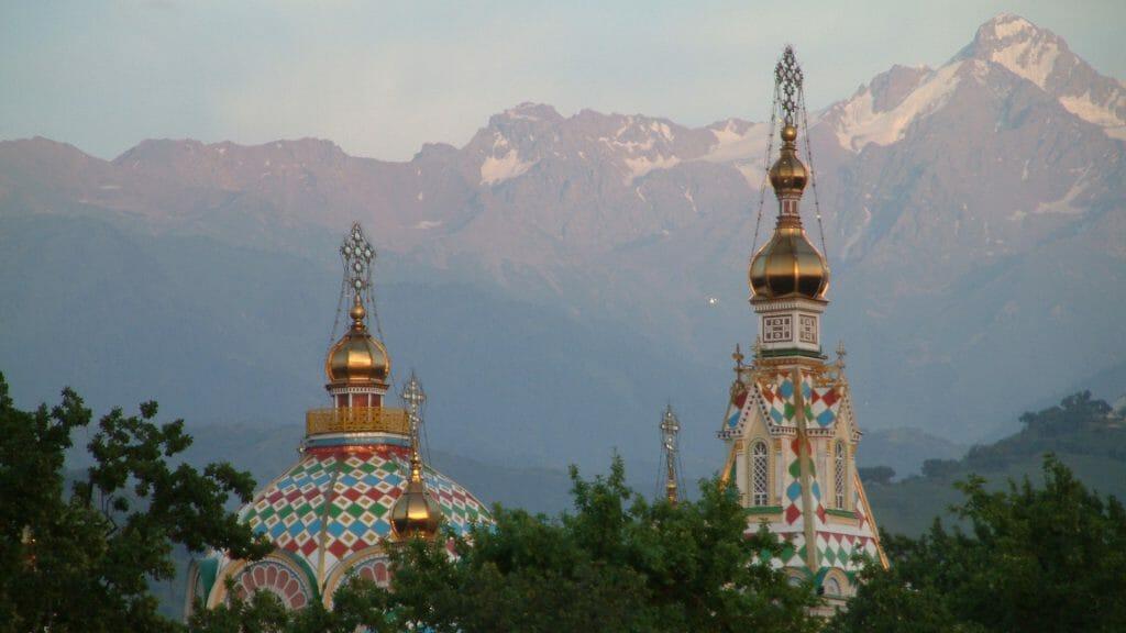 Spires of Zenkov Cathedral, Almaty, Kazakhstan