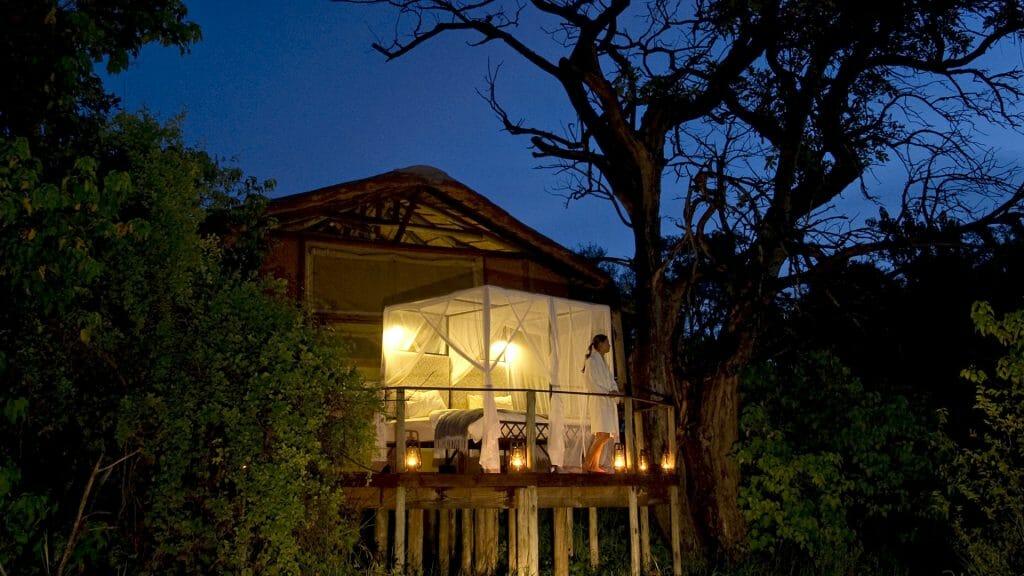 Star bed on the deck, Baines' Camp, Okavango Delta, Botswana