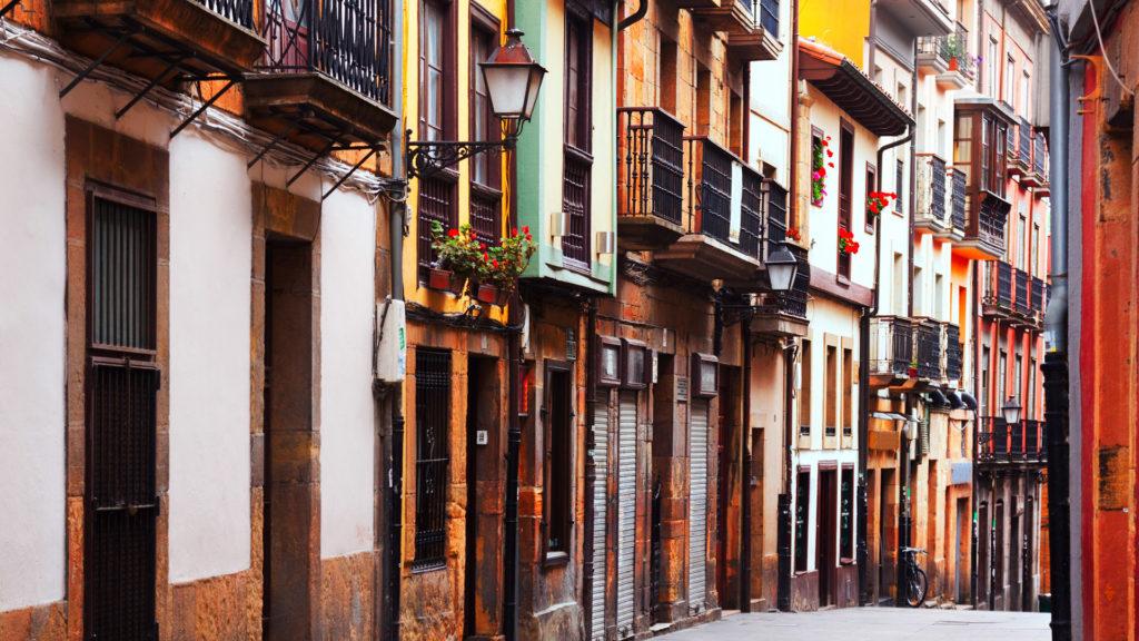 Street at historic part of Oviedo, Asturias, Spain