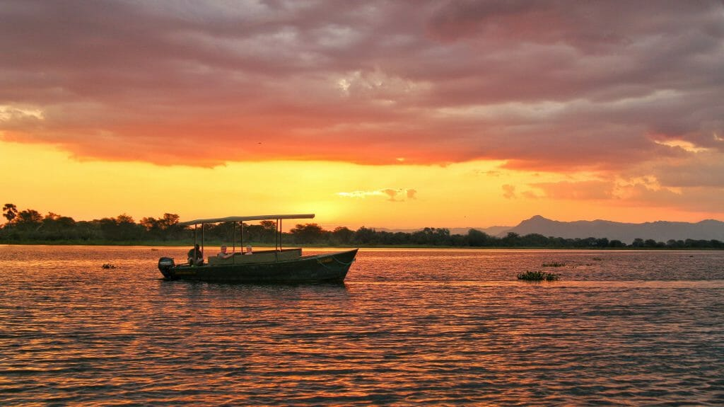 Sunset boat cruise on Shire River, Liwonde National Park, Malawi