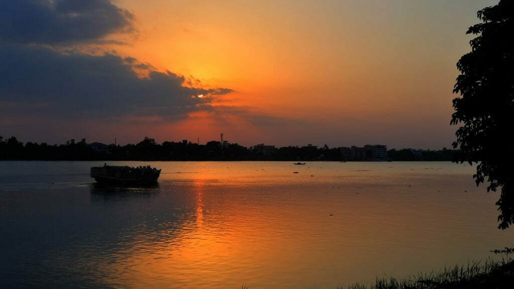 Sunset on the River Ganges or Hugli, India