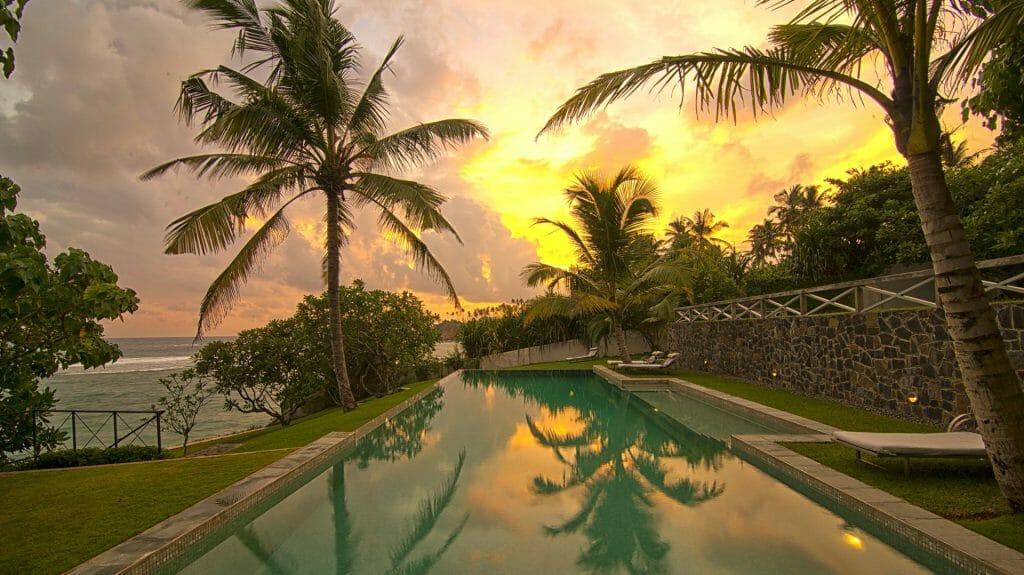 Sunset pool view, Suriyawatta villa, Weligama, Sri Lanka