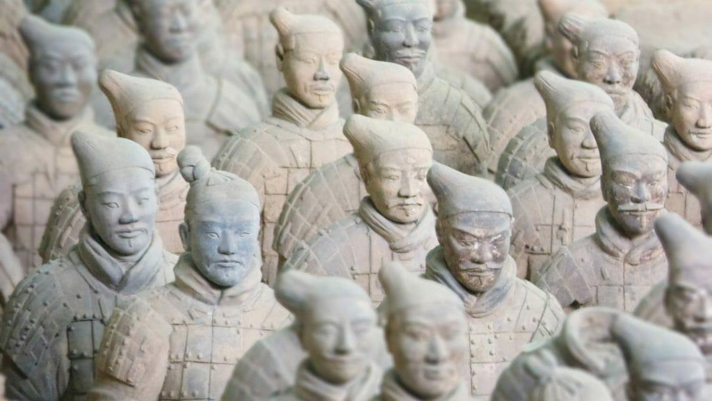 Full frame of terracotta warrior torsos.