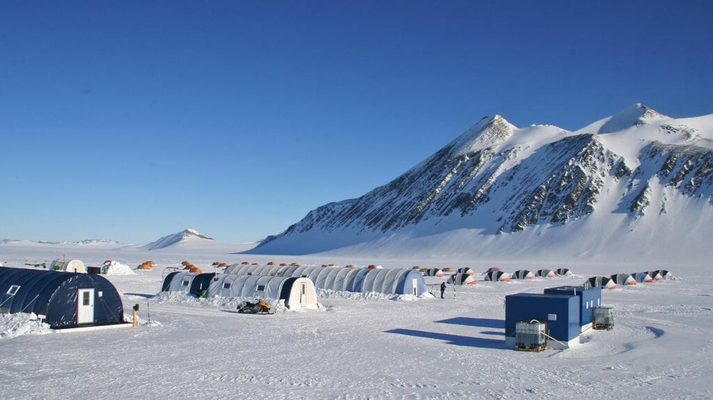 Union Glacier base camp view