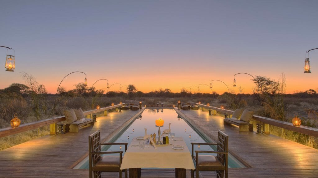 Veranda and infinity pool, Feline Fields, Kalahari Desert