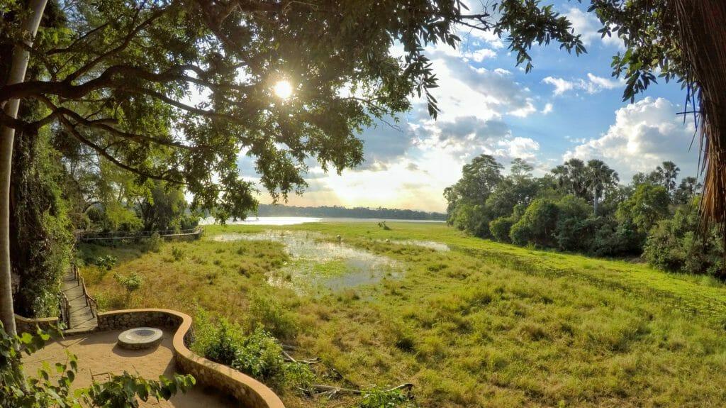 View across the lagoon, Mvuu Lodge, Liwonde National Park