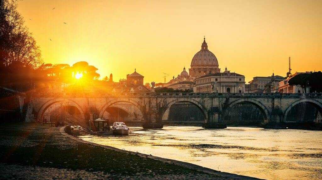 View of Tiber & St Peters Cathedral, Rome, Italy
