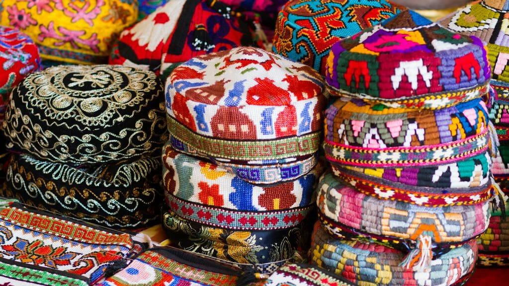 The traditional Uzbek cap, named tubeteika