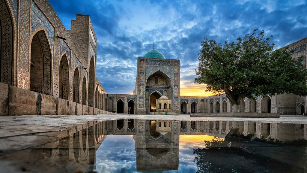 Inner courtyard of the Kalyan Mosque, part of the Po-i-Kalyan Complex in Bukhara
