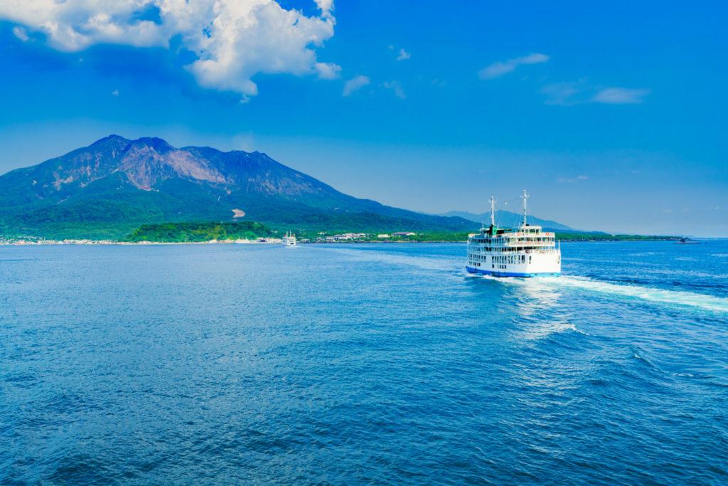 Landscape of Sakurajima island and Kagoshima ferry in Kagoshima, Japan