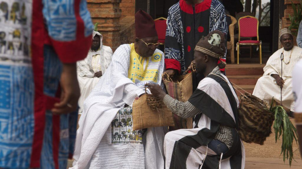 The sultan receiving gifts during Nguon, Foumban, Cameroon