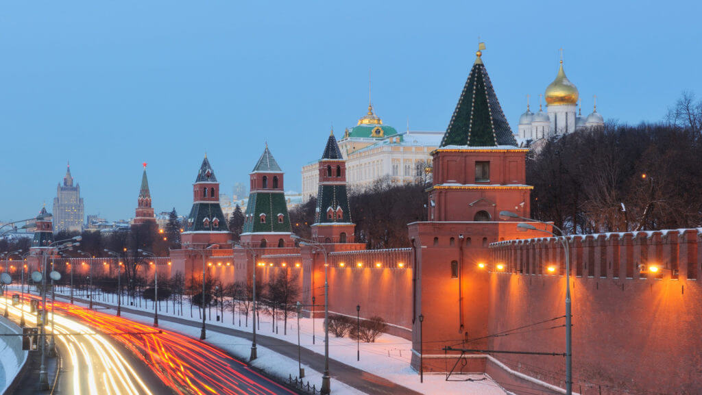 View of Kremlin from Bolshoi Moskvoretsky, Moscow, Russia