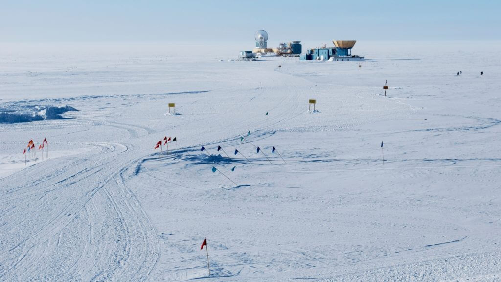 View of the Amundsen Scott Research Station, its telescopes and airstrip, near the South Pole in Antarctica
