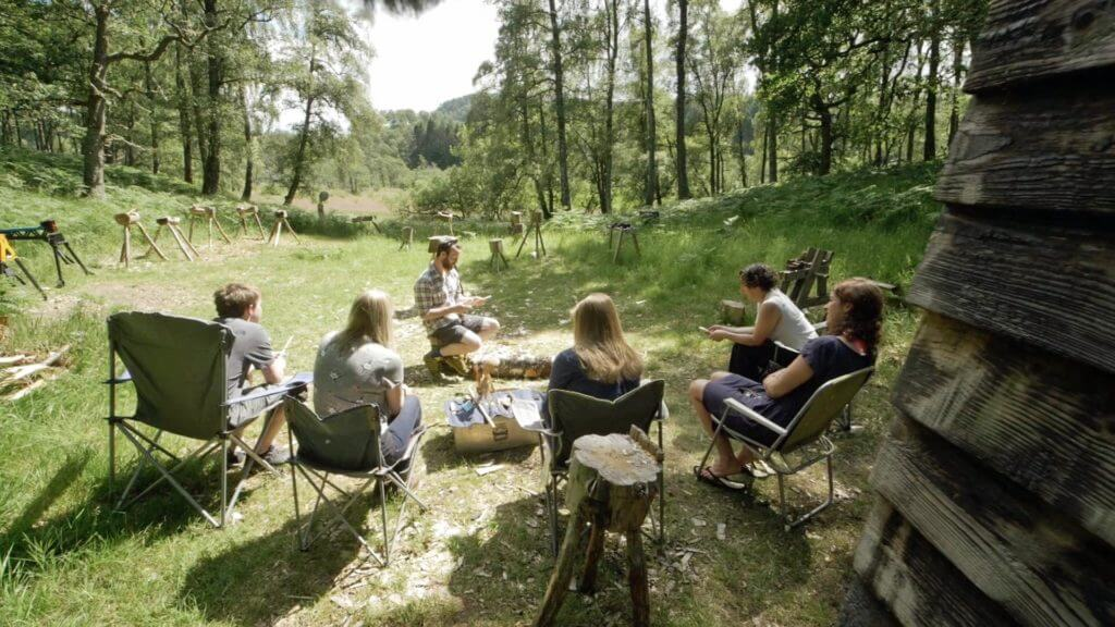 Woodsman and wood carving lessons, Cairngorms, Scotland